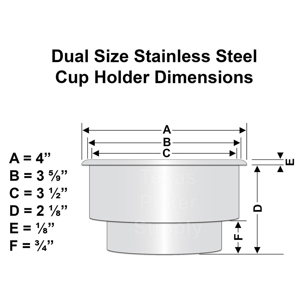 Dual Size Stainless Steel Cup Holder Dimensions