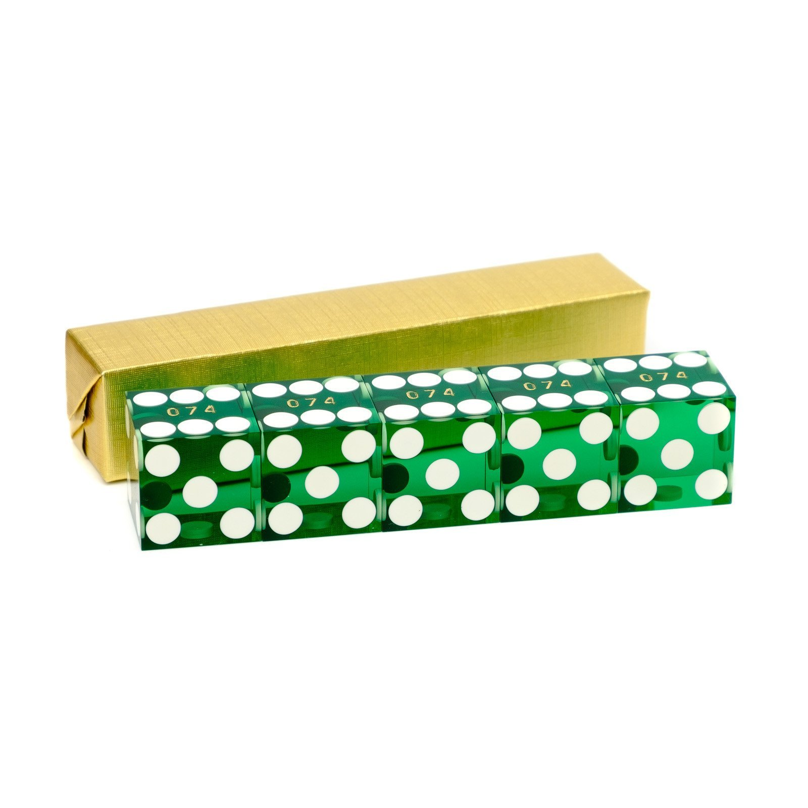 Green serialized casino dice