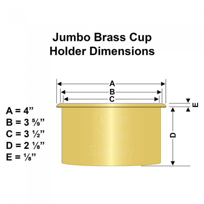 Jumbo Brass Cup Holder Dimensions