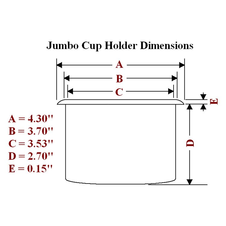 Jumbo plastic cup holder dimensions