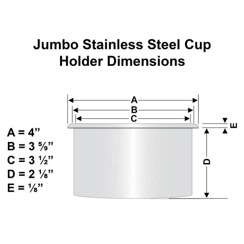 Jumbo Stainless Steel Cup Holder Dimensions
