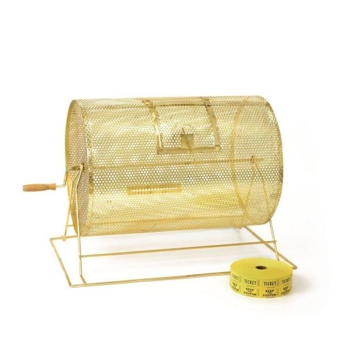 Large brass raffle drum
